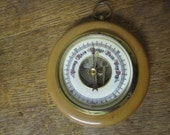 Vintage Weather Barometer Made in Germany Art Deco Lettering Wall Decor