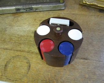 Vintage wooden Poker chip caddy complete.