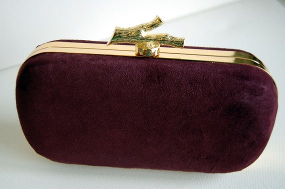 The 'Brooke' - Burgundy Suede Leather Clutch Purse / Minaudiere