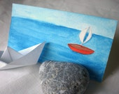 Red Boat Small Watercolor and Pencil Drawing - Children Room Decor