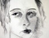 Drawing - Charcoal - Fine Art Print -- Melancholy - Woman Portrait