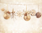 Christmas sale Art photography print Christmas decorations, ornaments. Brown, gold, beige. Holiday gift