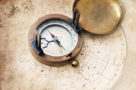 Vintage Compass Wall Decor : Items similar to vintage art print compass photography