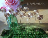 CUSTOM ORDER for LOREN Spiral Wire Wedding Place Card Holders, Table Number Holders, Photo Holders, Plant Picks