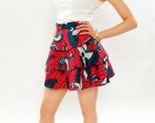 Handmade Tribal African Wax Print Fabric Three Tiered Red Skirt, Abstract Print - Small Size UK8