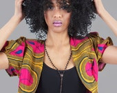 Pink & Yellow African Tribal Print  Crop Jacket - available in 5 sizes