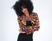 Handmade African Tribal Fabric Purple Print Crop Jacket Bolero Shrug - available in 4 sizes