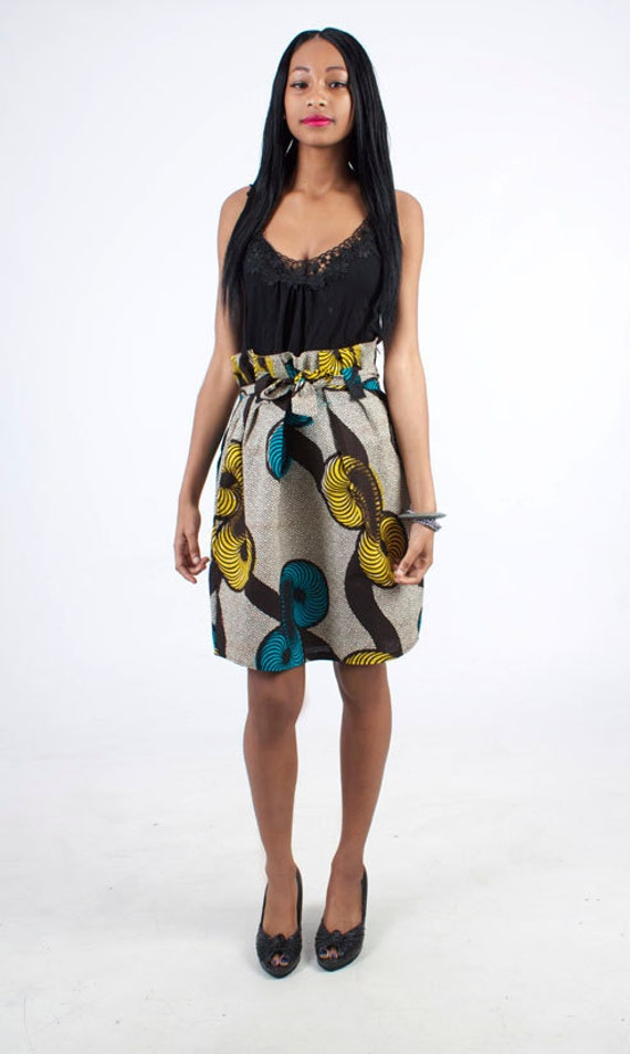 Handmade Yellow & Blue African Fabric Gathered Pleat Skirt - available in 2 sizes
