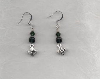 Celtic Knot with Green Glass and Swavorski Crystal Bead Earrings