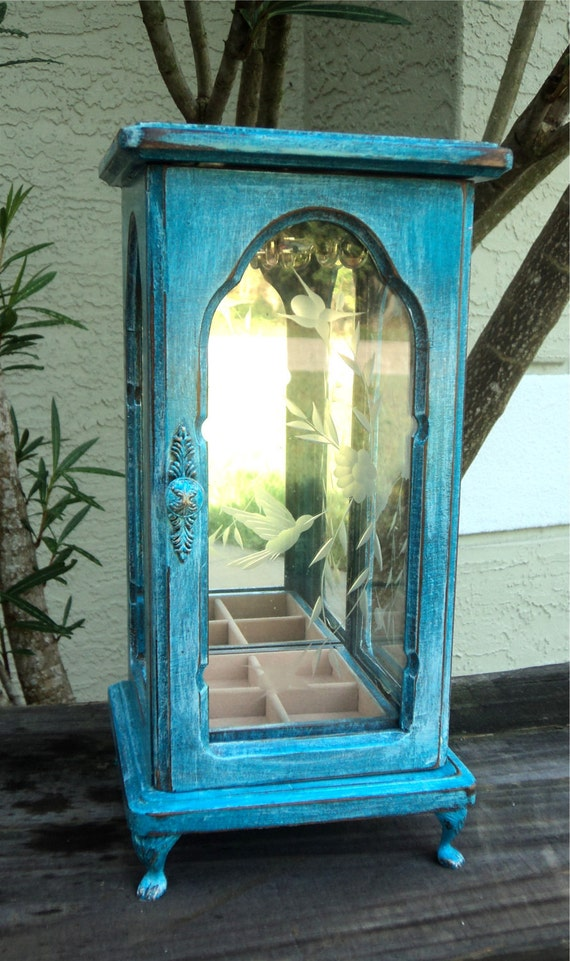 Petite Up Cycled Glass Jewelry Cabinet, Distressed Turquoise And White, Etched Humming bird Glass