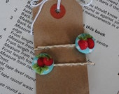 CLOSING DOWN SALE. Strawberry fabric button bobby pin hair clips.