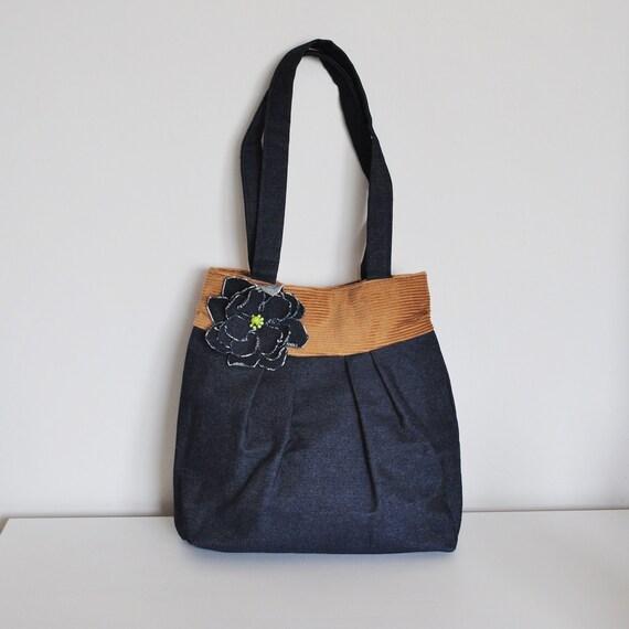 SUMMER SALE 50% OFF. Bag, blue denim and camel cord, pleated panel, Lisa