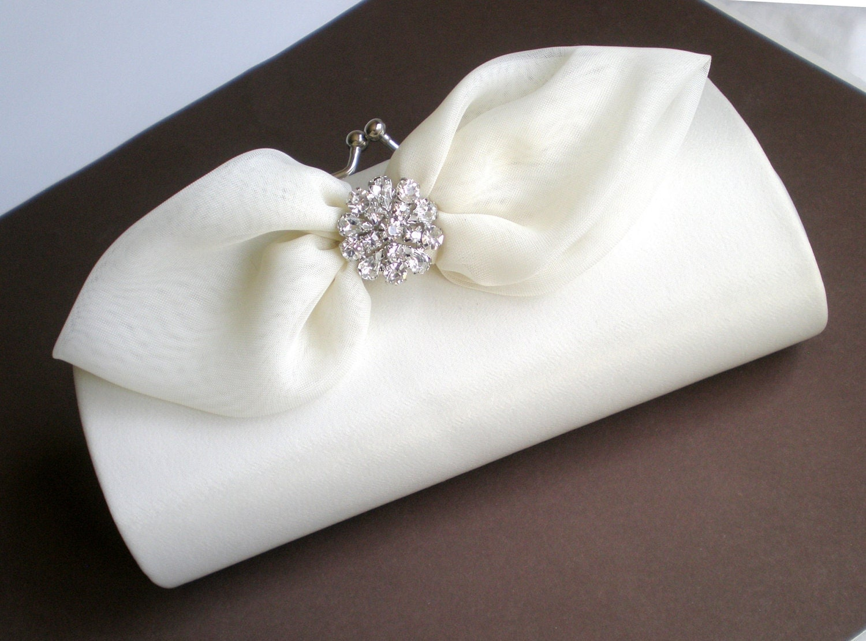 Elegant Ivory Bridal Clutch Purse Chic Bow And Rhinestone