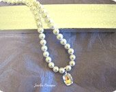 Swarovski Crystal and Shell pear Necklace and elegant design for a special occasion