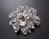 1 Crystal Rhinestone Flower perfect for hair comb, headband, pendant, tiara, bracelet, Size 77mm x 70mm