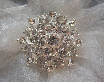10 Sparkling Crystal Rhinestone Flower Buttons, Size 34mm