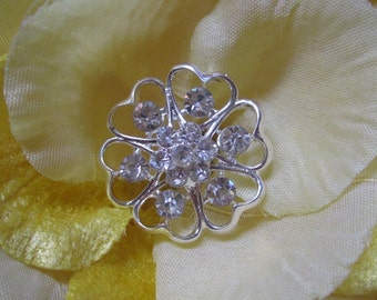 5 Sparkling Crystal Rhinestone Flower Buttons, Size 26mm