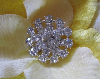 5 Sparkling Crystal Rhinestone Flower Buttons, Size 27mm