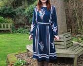 SALE SWIV Blue Patterned Midi Length Vintage 70s Dress