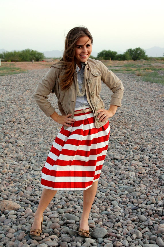 Red and White Striped Pleated Skirt