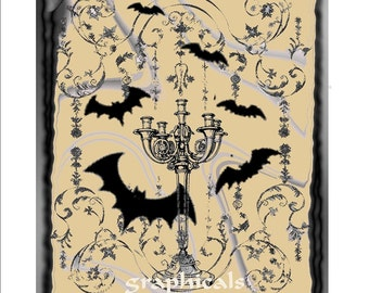 Halloween candelabra Bats two for one instant digital download image transfer for iron on fabric burlap pillow decoupage card tag No. D108