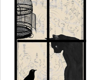 Bird escape cat birdcage instant digital download image for transfer to fabric paper burlap decoupage pillows tags totebags  No. D109