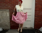 1970s cream and pink polyester party prom dress. By Amy-Deb. Size large 10-12