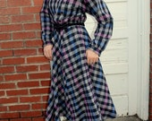 1980s plaid cotton shirt dress. Funky collar. By JT Dress. Size large 10-12-14