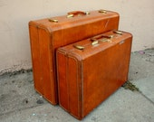1950s Samsonite Streamlite luggage set. Pair of two suticases. XL and medium sizes