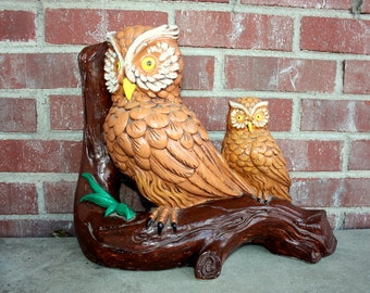 1970s 70s clay owl figurine. Hand painted in 1977. Retro hippie owl pair. Large 15 inches by 13 inches