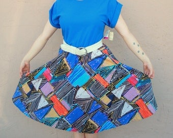 1970s graphic geometric abstract print retro day dress. Original tags. Size Large L 10 12 14