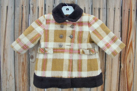 Vintage Sears Roebuck childrens girls toddler plaid wool winter princess coat. Size 2T