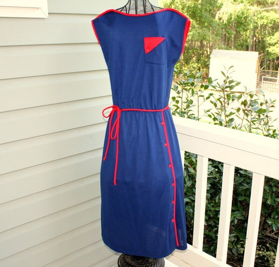 1970s retro geometric blue and red day dress. By Oops California. Size small sm 2-4-6