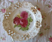 Bavarian Style Rose and Filigree Plate