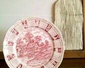 Meakin 1969 Zodiac Calendar Plate - Red Transferware