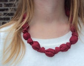 Red Fabric Knotted Necklace with Black Ribbon Ties