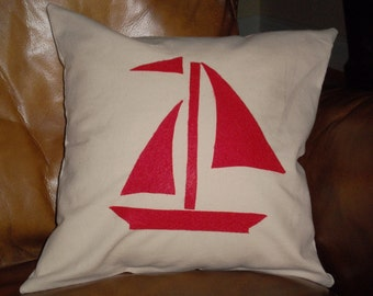 Sailboat Pillow 12 X 12
