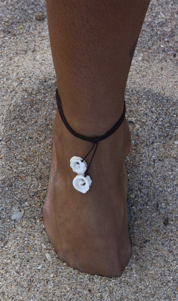 Conch Seashell Multi-use String Jewelry - Anklet , Bracelet and Necklace - Summer, beach, surf, SUP style.