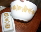 Vintage Pyrex 3 Pieces  7 Inch Bowl and Covered Butter Dish Harvest Gold Design