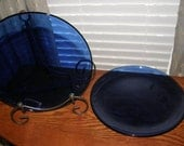 2 Vintage Cobalt Dinner Plates made in Mexico BIG 11 inches Across