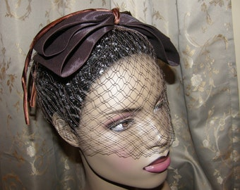 Vintage Fascinator Cocktail Hat Chocolate Brown Whimsy 50s 60s Bircage Veil Satin Bows and Loops Fabulous