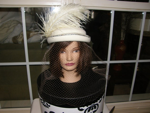 Sale Vintage Ladies Ivory Wool Hat Has Perfect Veil and FREE Hat Box Ostrich Plume, Faux Pearls, Rhinestones WAS 48.00