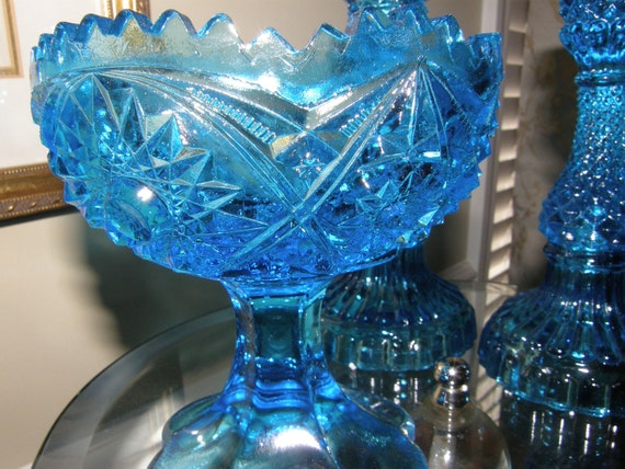 4 Pc Set Vintage Peacock Blue Compote with Matching Candlesticks and Snuffer
