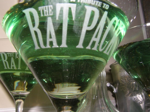 3- Vintage Rat Pack Martini Glasses Collectible for your Mad Men and the Man Cave