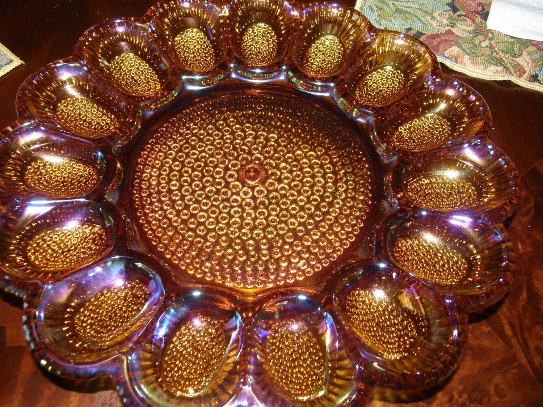 Vintage Carnival Glass Devilled Egg Tray Dish Hobnail Amber
