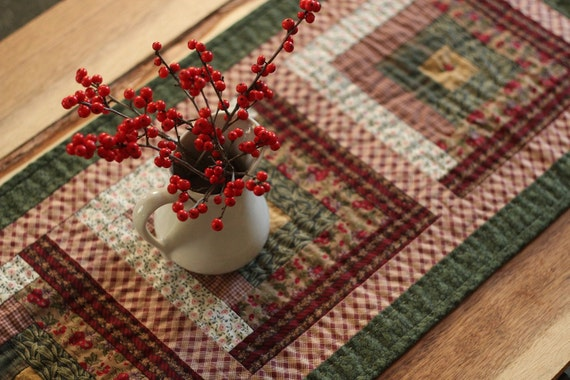 SALE Cotton Hand-Quilted Patchwork Table Runner