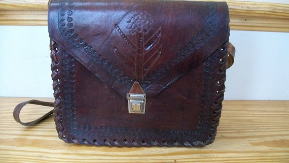 Women's vintage leather tooled brown purse western