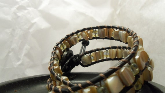 Genuine Leather Wrapped Sea Shell Bracelet