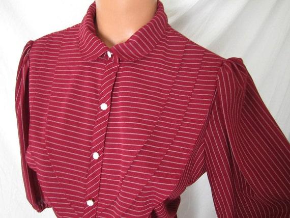 PROMISES PROMISES Girl Friday vintage disco secretary dress - red pinstripe - sz M