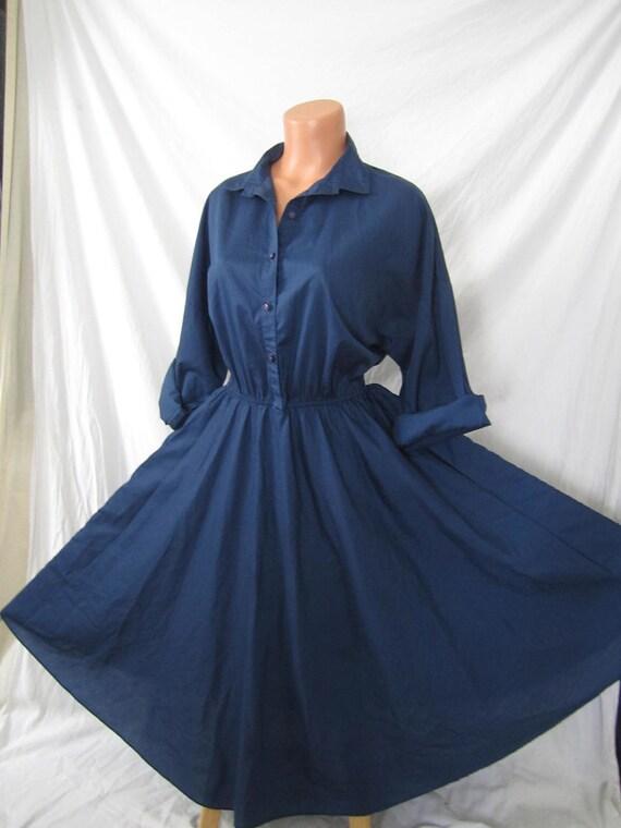 IN THE NAVY classic American Shirt Dress - blue - full skirt - rockabilly sz 12 14